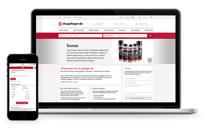 Software-Projekt von der kugellager-online GmbH & Co. KG